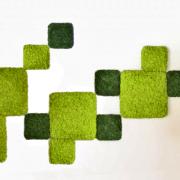 panele chrobotek dark green 25x25cm  i spring green 50x50cm fiński
