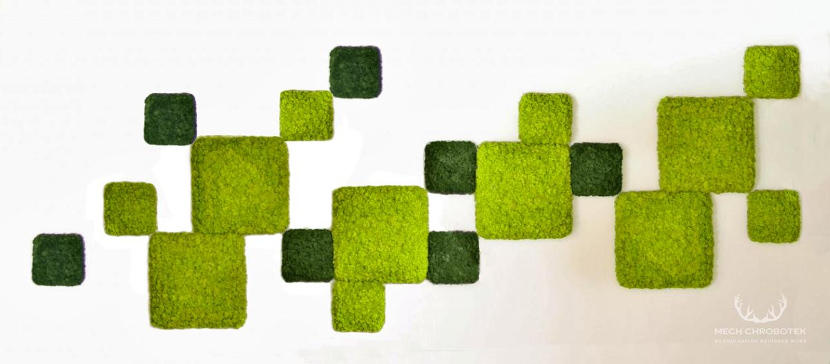 Inspiracja panele chrobotek dark green 25x25cm i spring green 50x50cm fiński