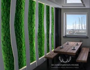 Wizualizacja mech poduszkowy na ścianie