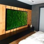 Wizualizacja obraz z mchu poduszkowego w sypialni