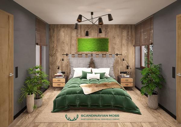 Wizualizacja obraz z chrobotka w dębowej ramie w sypialni